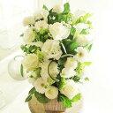 アレンジメントフラワー G&W Basket(グリーン・白系)※デザイナーが手がけるお洒落な一品。誕生日や開店などのお祝いへの贈り物、会社や...