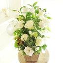 アレンジメントフラワー G&W Basket(グリーン・白系)※デザイナーが手がけるお洒落な一品。誕生日や開店などのお祝いへの贈り物、会..