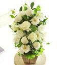 アレンジメントフラワー G&W Basket(グリーン・白系)※デザイナーが手がけるお洒落な一品入籍祝い 結婚祝い 結婚周年祝い ブライダル ウェディング 贈り物 フラワーギフト プレゼント お祝い お花 送料無料 メッセージカード無料 あす楽