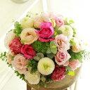 アレンジメントフラワー Round Basket(ピンク系)※デザイナーが手がけるお洒落な一品。結婚祝い、入籍祝いなど、ブライダル関連の贈り物に【送料・メッセージカード無料】【あす楽】