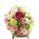 アレンジメントフラワー Round Basket(ピンク系)※デザイナーが手がけるお洒落な一品。誕生日、結婚、開店、移転など、様々なお祝いへの贈り物に【送料・メッセージカード無料】【あす楽】