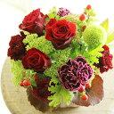 アレンジメントフラワーSSサイズ Vivid Red(赤系)※デザイナーが手がけるお洒落な一品出産祝い 誕生祝い 妊娠 出産 誕生 出生 バースディ 贈り物 フラワーギフト プレゼント お祝い お花 送料無料 メッセージカード無料 あす楽