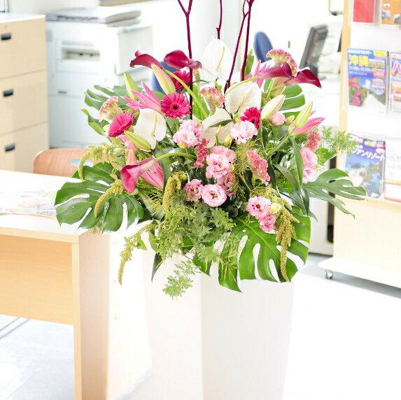 ビジネスに!デザイナーズスタンド Treasure Box(白) エレガント コース※全国送料無料【_包装】【_メッセ入力】 開店祝・開業祝・お誕生日・還暦祝い・出演祝い・各種お祝いに!デザイナーズフラワースタンド花!