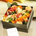 【メッセージ入り】 ローズBOX(スクエア・オレンジバラ)皇室献上実績のバラ農園から宅配直送!誕生日