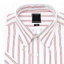 半袖ボタンダウン レッドストライプ ワイシャツ ボタンダウン 半袖ワイシャツ メンズ 半袖