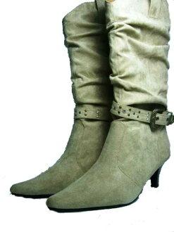 With buckle! kusyukusyu boots < beige]
