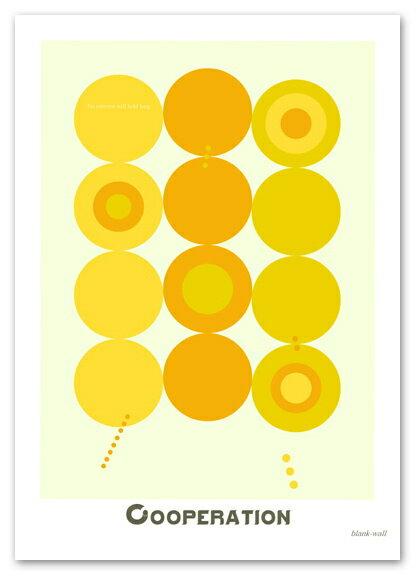 ポスター 【Cooperation イエロー】 A3サイズ Interior Art Poster 北欧 おしゃれポスター ポップ