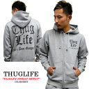 THUGLIFE / サグライフ 長袖スウェットセットアップ THUGLIFEペイズリーロゴ グレーセット