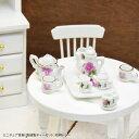 ミニチュア 食器 陶器製 ティーセット 花柄 トレー BLAZE インテリア 雑貨