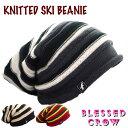 ショッピングビーニー BlessedCrow Knitted Ski ビーニー ボーダー ストライプ ニット帽 ロング ニットキャップ メンズ ラスタ
