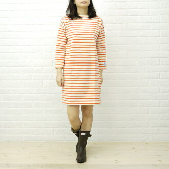 ORCIVAL (オーチバル-オーシバル) cotton striped sleeve boat neck dress (borders & without land), B217-0321301