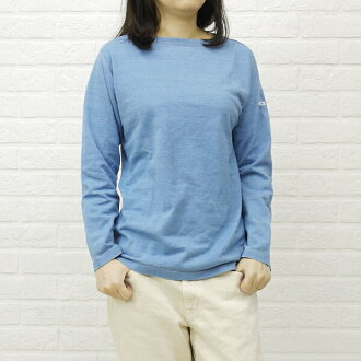 ORCIVAL( オーチバル オーシバル) cotton indigo 染 boat neck long sleeves T-shirt, RC-6834-0321301