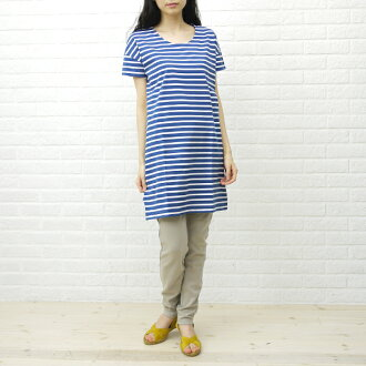 BCB comment * ORCIVAL( オーチバル オーシバル) cotton horizontal stripe short-sleeved U neck one piece, RC-6844-0321301