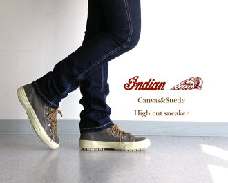INDIAN (Indian) canvas & スエードハイ sneaker-ID-549