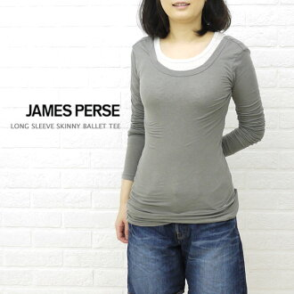 JAMES PERSE (James Perth) cotton polyurethane long sleeve round neck T shirt-WJE3792-0171202
