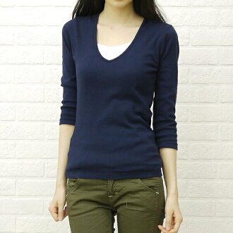 "three dots (three dots) cotton V neck three-quarter sleeve t-shirt ""Amy""-AA 431Y-0441301"