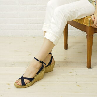 Calzanor (カルザノール) suede leather espadrille cross strap wedge sole sandal-S787-0241301