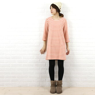 Another BCB note * ORCIVAL (オーチバル-オーシバル) cotton バスクシャツ / 7 sleeve U-neck dress (plain & border)-B203-BCB-0321302