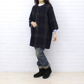 BRANIGAN( ブラニガン) wool alpaca three-quarter sleeves no-collar coat, NBN1251-0341302 fs3gm