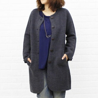 NIMES( Nimes) wool popcorn knitting no-collar knit long coat, NLK3509042-0091302