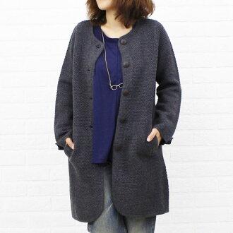 NIMES( Nimes) wool popcorn knitting no-collar knit long coat, NLK3509042-0091302