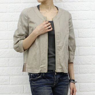 kaene (Cahen) cotton and linen mix キュプラノー color seven-sleeve バックプリーツジップ-005185-2471302