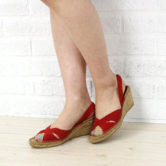Calzanor( カルザノール) suede cloth wedge sole sandals, 815S-0311301