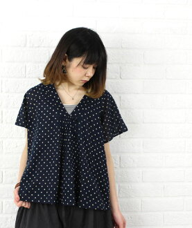 SOIL( soil) cotton V neck butterfly sleeve dot print patchwork pullover, NSL1072-0341301