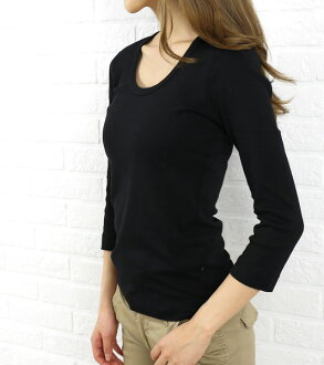 "three dots (threadz) cotton / 7 sleeve U-neck T shirt ""Jessica Tee""-AA 4S-041-0441302"