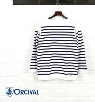ORCIVAL (オーチバル-オーシバル) cotton long sleeve boat neck ラッセルボーダー t-shirt (regular)-6101-0321302
