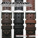 楽天ブリスショップ(楽天市場店)Buffalo Heavy Stitching Style 18mm 20mm 22mm Italian Calf Leather and Stainless Mirror Silver Buckle / 時計 ベルト バンド ストラップ バッファロー ブラック ブラウン ダークブラウン