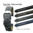楽天ブリスショップ(楽天市場店)【送料無料】Easy Click Disterssed Leather Style / 20mm 22mm 24mm / White Stitching Genuine Leather and Stainless Satin Silver Middle Buckle / 腕時計 ベルト バンド ストラップ イージークリック