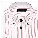 半袖切り返し襟 レッドストライプ ワイシャツ ボタンダウン Yシャツ 豊富なサイズ ビジネス 形態安定 スリム[ドレスシャツ][カラーシャ..