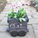 ミニプランタートロッコ3号 ヒノキ 檜 汽車 列車 ガーデニング 鉢 プランター 木製