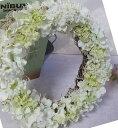 楽天フラワーショップBlue candleあじさいのホワイトリース【エンジェル・リ−ス】造花・CT触媒・CT触媒のリース・造花のリースアジサイのリースクリスマスリース・お祝い・誕生日結婚祝い・ブライダル・ウエルカムボード枯れない花・白のース・ホワイトリース