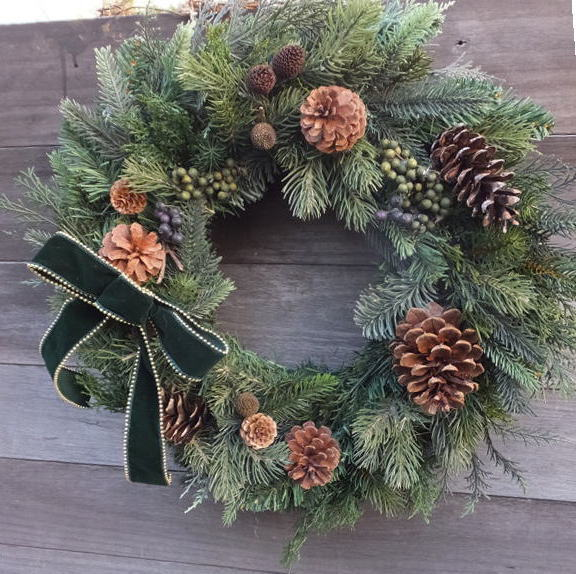 45cm グリーン・クリスマス送料無料・CT触媒・CT触媒のリース・造花のリースグリーンのリース・モミのリースクリスマスリース・お祝い・誕生日結婚祝い・ブライダル・ウエルカムボード枯れない花・外玄関のリース