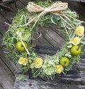 「青リンゴのリース」りんごのリース・造花のリースビタミンカラー・黄色のリースお誕生日・プレゼント・CT触媒クリスマス・クリスマスリース