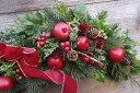 ★赤リンゴのスワッグ ドライフラワー・リスマスリースリース・赤いリース・リンゴのリース結婚祝い・ナチュラルリース