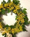 ミモザのリース造花・CT触媒・CT触媒のリース・造花のリースミモザ・お祝い・誕生日結婚祝い・ブライダル・枯れない花