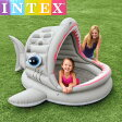 INTEX インテックス 『シャークシェードプール』 吠えザメ シェードプール 幼児用 屋根付き 浮き輪 日除け サンシェード付き ラウンジ プール 子ども用プール UV 紫外線