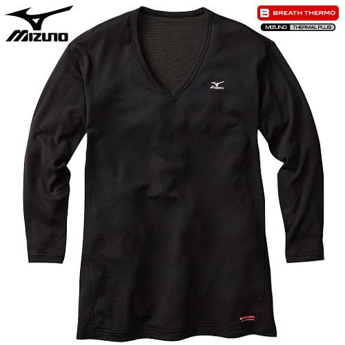 ミズノ MIZUNO ブレスサーモ ライトウエイト Vネック長袖シャツ 男性用 ブラック [A2JA550209]