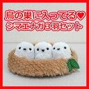 【4点セット】鳥の巣に入ってる♪シマエナガ3羽セットセキグチオリジナル 三英貿易日本の動物ぬいぐるみ小鳥雑貨シリーズ