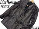 【中古】●Dior ディオール オム 仔羊革ラムスキンレザージャケット フランス製