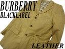 【中古】良品◎山羊革 バーバリーブラックレーベル ゴートレザージャケット BURBERRY BLACKLABEL テーラードジャケット シングルジャケット メンズ