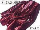 【中古】◇美品◇ドルチェ&ガッバーナ◇ベロア タキシードジャケット ボルドー DOLCE&GABBANA イタリア製(Size:50