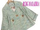 【中古】▼美品▼BCBG MAXAZRIA シルク100% デザインジャケット レディース M 杢グリーンMIX