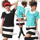 ゴルフデビューするあなたに!ブルクラからオシャレで可愛いゴルフウエア上下セットをスペシャル特価でお届け!(2011Summer/ブルークラッシュ)・・・袖口ロゴ重ね風ポロ+ボーダースカート(上下セット)