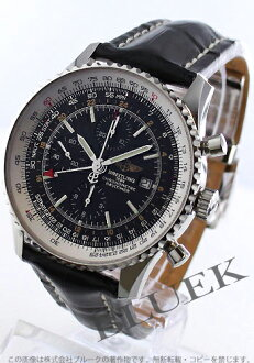 Breitling Navitimer world chronometer chronograph crocodile leather black mens A242B26WBD