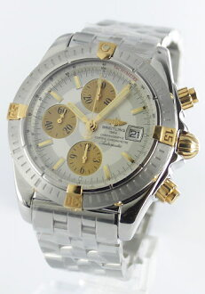 Brightman ring wind rider Kurono mat chronometer chronograph silver & gold men B156G70PA