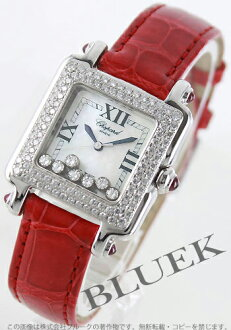 Chopard happy sport WG pure gold diamond crocodile leather red / white shell ladies 27/6679-21
